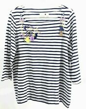 Chicos Womens Top White Blue Stripe Embroidered 3/4 Sleeve Tassel Blouse 2 L