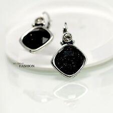 Rings`Ears Silver Sleeper Diamentine Black Vintage Style Class D10
