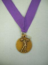 "Cheerleading gold 1 1/2"" dia medal award purple neck drape"