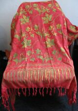 New Indonesia sarong neon red with yellow green, viscose, w/instructions & clasp