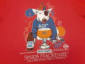 VTG 80s BUD LIGHT Beer SPUDS MACKENZIE Party Animal Budweiser T Shirt Red Large
