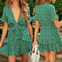 Womens Sexy Deep V Neck Mini Dress Ladies Summer Boho Short Sleeve SwingDre New