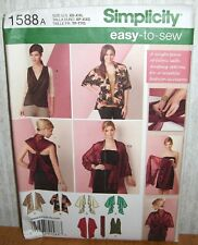 Womens/Misses Kimono Jackets Tops + Sewing Pattern/Simplicity 1588/SZ XS-XXL/UCN