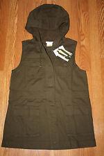 NWT Womens MATTY M Olive Hooded Cargo Vest Size Medium XS