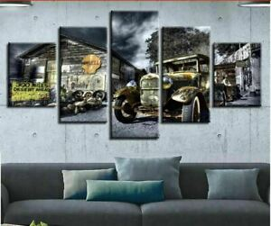Old Hot Rod Car Barn Farm 5 Panel Canvas Print Poster Wall Art Home Decor