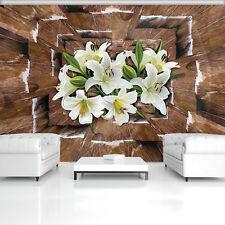 Fototapeten Fototapete Tapete POSTER Blumen Braun Holz 3D Abstraktion 3FX3719P4