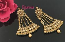 Indian Bollywood Costume Jewellery Earrings Kundan Stone Polki Gold Bronze