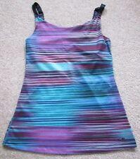 Champion Women's blue purple black stripe bra top Small pleated back