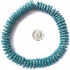 Ghana Handmade recycled Glass Opaque Teal Rondelle African Trade beads