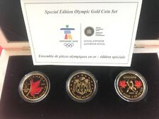 2008 - 2010 Vancouver Olympic .9999 Gold Coin Set $50 Coloured - Mintage of 200