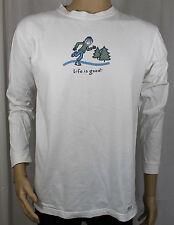 Life is Good Ice Skater White Medium Women's Shirt 3/4 Sleeve