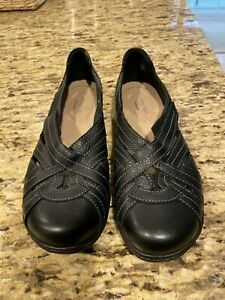 Clarks Bendables Black Leather Mary Janes Women's Shoes Size 8 W