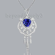 Solid 18K White Gold Engagement Wedding 1.675ct Tanzanite  Diamond Gem Pendant
