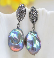 P7032 25mm Peacock-Black Baroque Keshi Pearl Inlay Crystal Dangle Earring