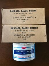 Vintage First Aid Supplies 1960 Military Gauze Bandage First Aid Tape Lot Of 3