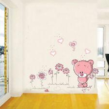 Removable Cartoon Bear Wall Sticker Home Decor Nursery Pink Girl Kid Room Baby