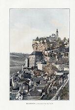 46 ROCAMADOUR LE ROCHER ET LA VILLE IMAGE COULEUR 1903