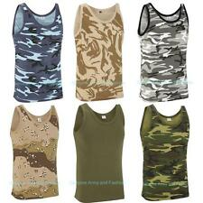 NEW SLEEVELESS VEST MENS MILITARY CAMOUFLAGE TANK TOP CAMO T SHIRT ARMY COMBAT