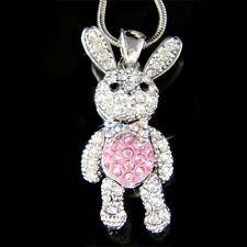 w Swarovski Crystal Pink Movable Girls Bunny Hase Easter Rabbit Pendant Necklace