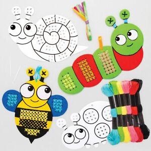 Cross Stitch Kids Kits Bug Colour-in Set Beginners Childrens Crafts Needlework