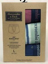 3 PK Abercrombie Fitch PINK BLUE FLORAL STRIPE Men Boxer Briefs Underwear LARGE