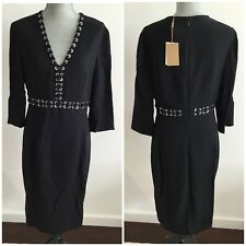 $2275 MICHAEL KORS COLLECTION Size 12 Black Knee Length Dress Made in Italy New
