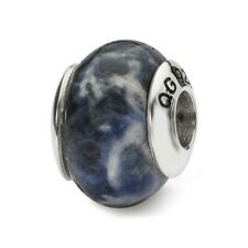 Sodalite Stone Bead .925 Sterling Silver Antique Reflection Beads