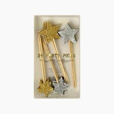 Meri Meri Silver Gold Glitter Star Cake Toppers Food Picks Christmas Party Xmas