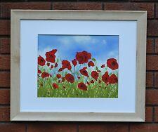 "OIL PAINTING Poppies Original Art by Brushman Pine Frame 23""x19"""