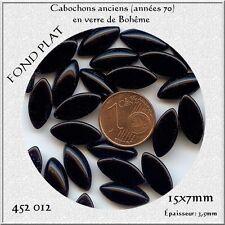 452012 *** 8 CABOCHONS ANCIENS VERRE BOHÊME OLIVE 15x7mm NOIR