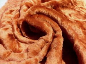 sheepskin shearling leather hide Burnt Rust Orange silky w/Mottled suede back