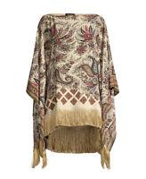 Etro Paisley Silk Poncho Top With Fringe $1000