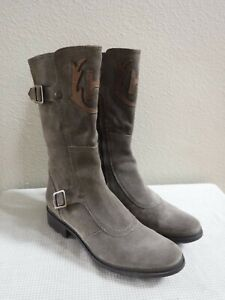 HUNTER WILM 7.5 Gray Suede Leather Buckle Riding Equestrian Zip Mid Boots Heels