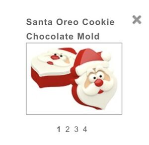 SANTA FATHER CHRISTMAS OREO TYPE COOKIE CHOCOLATE MOULD 4 SHAPES ON 1 MOULD