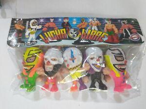 "Wrestling 3"" set of 5 figures, Lucha Libre Luchadores Cabezones (9)"