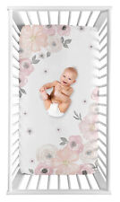 Blush Pink Grey White Watercolor Floral Photo Op Fitted Crib Sheet by Sweet Jojo