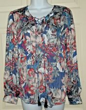 New Womens Large 12-14  Foiled Lace Up Sheer Blouse Floral Top Shirt Faded Glory