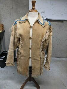 Reproduction Beaded And Quilled Braintanned Buckskin Jacket Size 40-42 Handsewn
