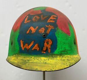 """Original Vietnam Era Painted """"Love Not War"""" Protester's WWII M1 Helmet Liner"""