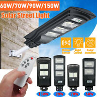 150W LED Solar Street Light Outdoor Lamp PIR Motion Sensor Dusk to Dawn +Remote