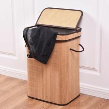Rect Bamboo Hamper Laundry Basket Washing Cloth Storage Bin Bag W/Folding Lid