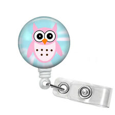 Retractable Pink Owl Badge Reel for Vet Tech or RN in a Variety of Reel Styles