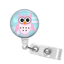 Badge Reels Retractable ID Holder Owl Security Name Tag Clip LVN Nurse Teacher