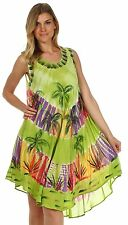 Womens Beachwear Green Umbrella Viscose Dress Ladies Summer Green Top