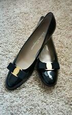 Salvador Ferragamo iconic black patent leather pumps  size 10  width  4A