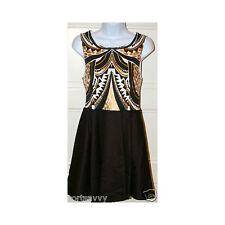 MINK PINK Black Cleopatra Print Sleeveless Zip Back Dress Sz M