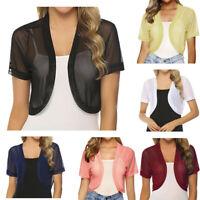 Fashion Womens Chiffon Short Sleeve Summer Shrug Open Front Bolero Cardigan Tops