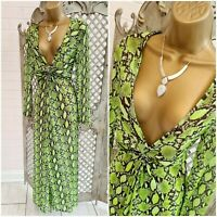 Primark💋 Sheer Lime Snakeskin Animal Print Twisted Split Front Maxi Dress UK M