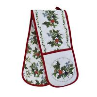 HOLLY AND IVY GREEN RED WHITE CHRISTMAS 100% COTTON KITCHEN DOUBLE OVEN GLOVE