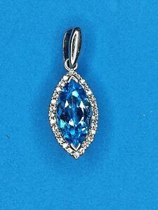 Sterling Silver Modern Style Pendant Set - Natural Stones London Blue Topaz